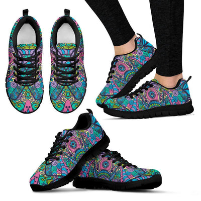 Colorful Elephant Indian Print Women Sneakers