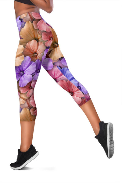 Colorful Geranium Floral Pattern Women Capris