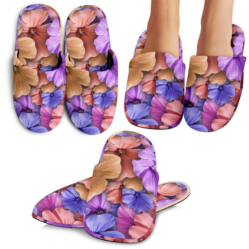 Colorful Geranium Pattern Slippers