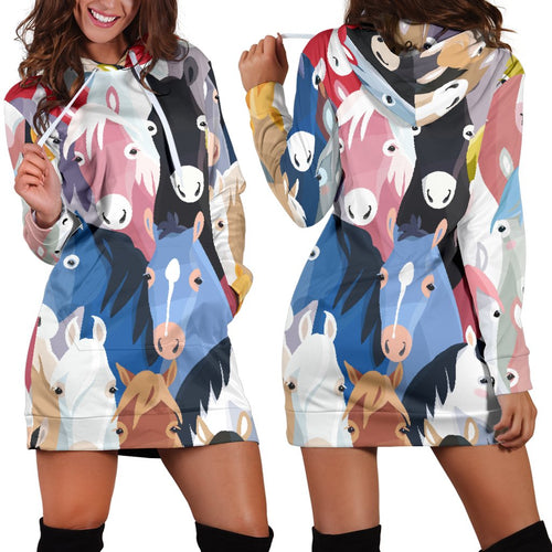 Colorful Horse Pattern Women Hoodie Dress