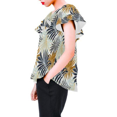 Colorful Tropical Palm Leaves Off Shoulder Ruffle Blouse
