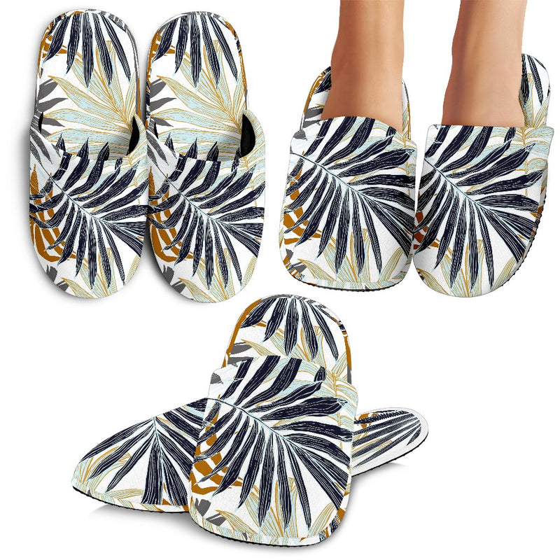 Colorful Tropical Palm Leaves Slippers