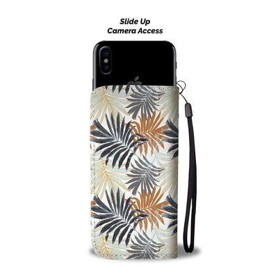 Colorful Tropical Palm Leaves Wallet Phone Case