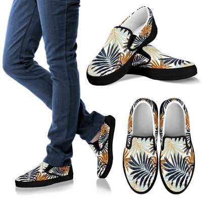 Colorful Tropical Palm Leaves Women Canvas Slip On Shoes