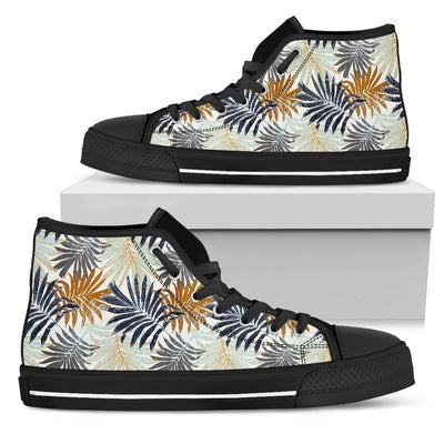 Colorful Tropical Palm Leaves Women High Top Canvas Shoes