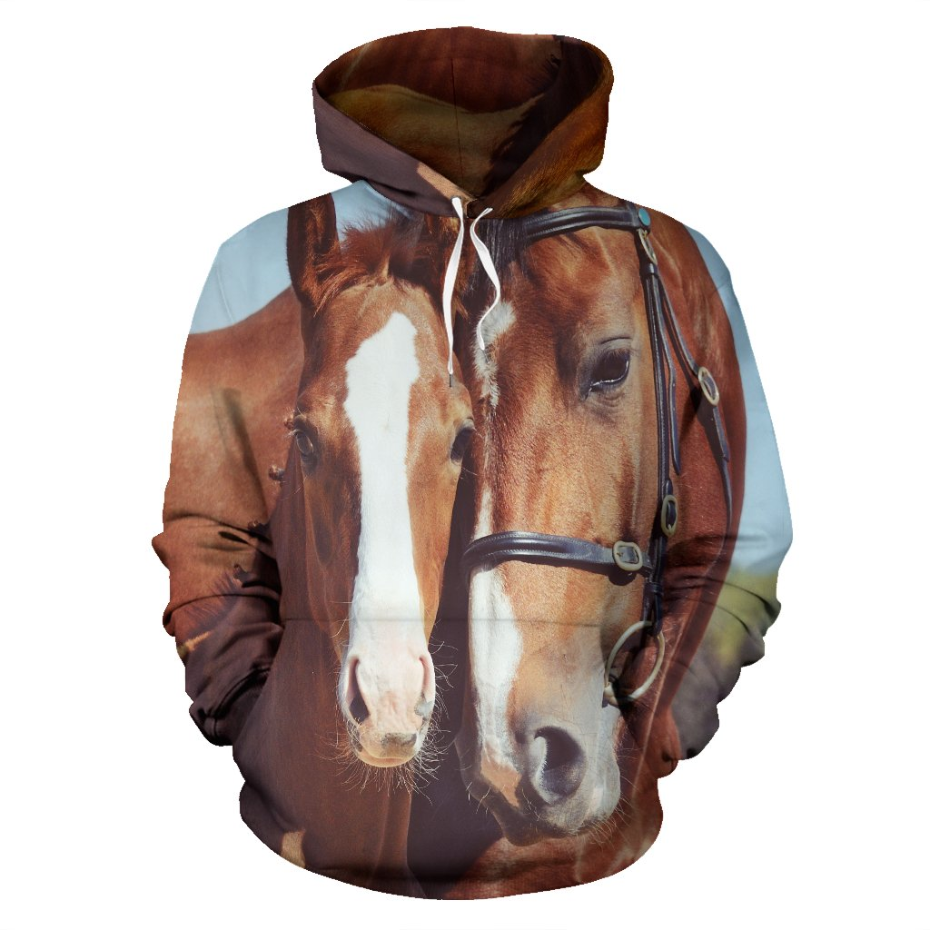 Couple Brown Horses Pullover Hoodie
