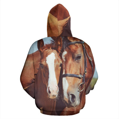 Couple Brown Horses Women Men Zip Up Hoodie