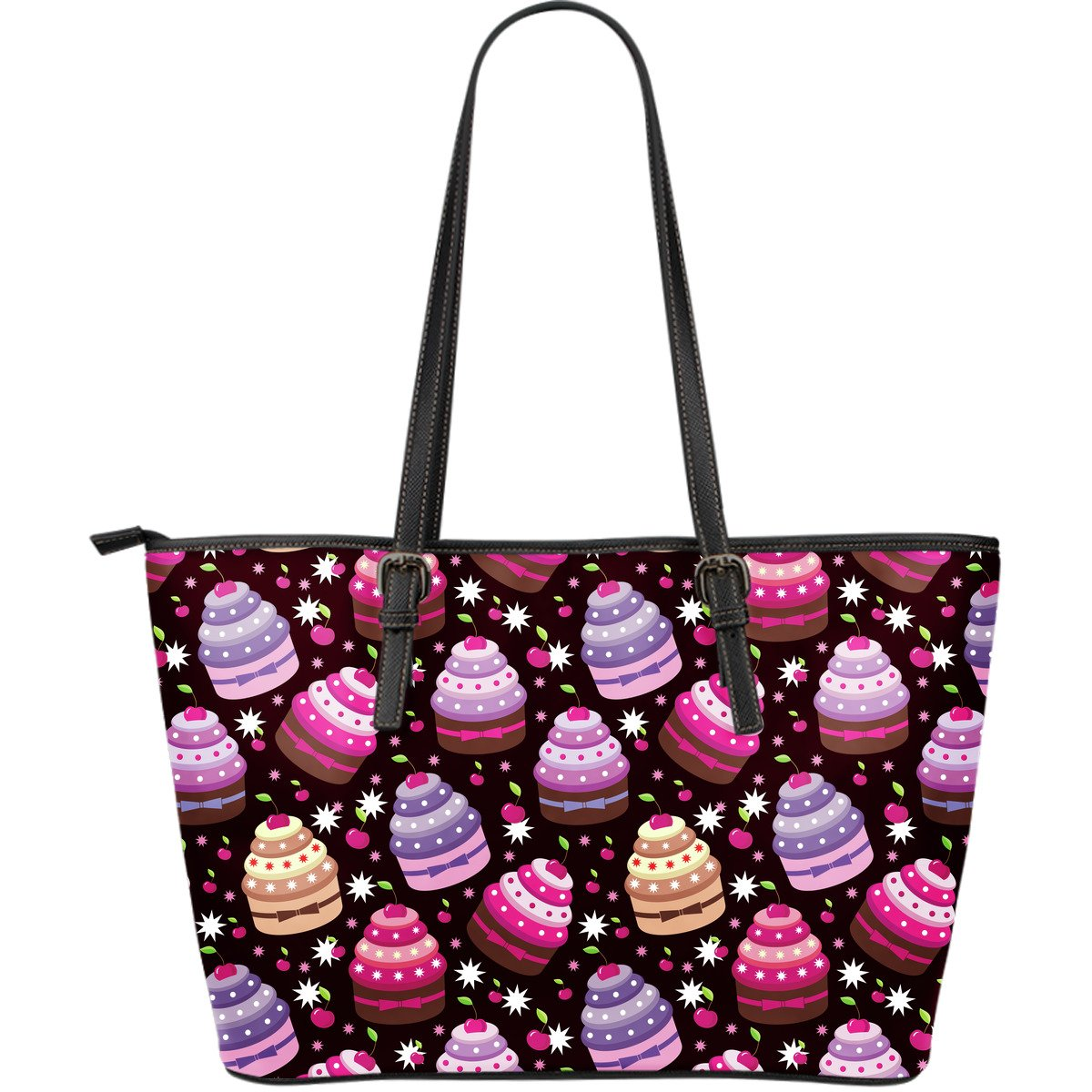 Cupcake Print Large Leather Tote Bag