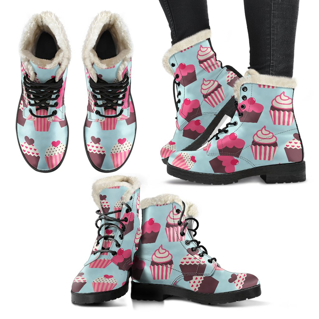 CupCake Print Pattern Faux Fur Leather Boots