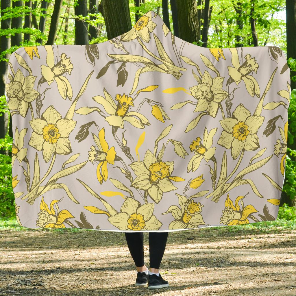 Daffodils Pattern Print Design DF05 Hooded Blanket-JORJUNE.COM