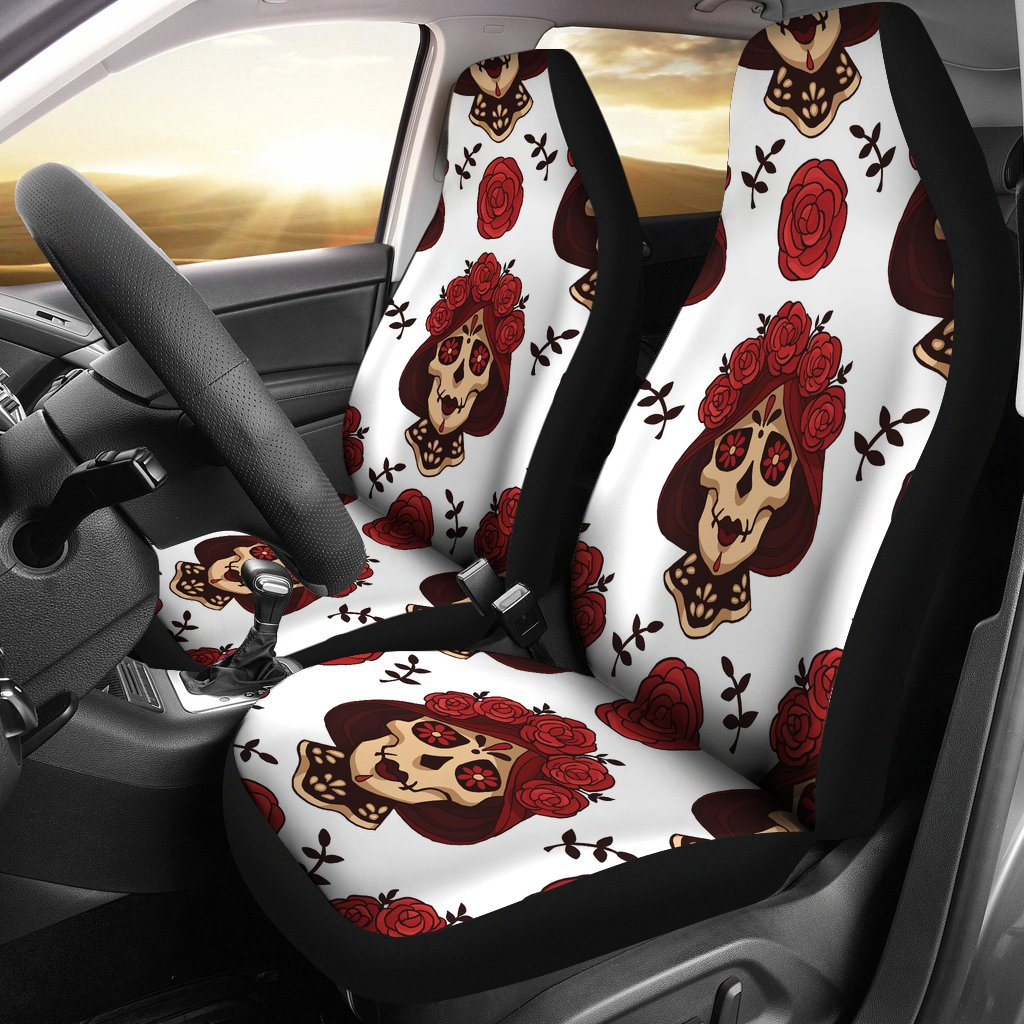 Day Of The Dead Skull Girl Pattern Universal Fit Car Seat Covers