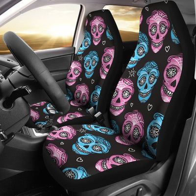 Day Of The Dead Skull Print Pattern Universal Fit Car Seat Covers