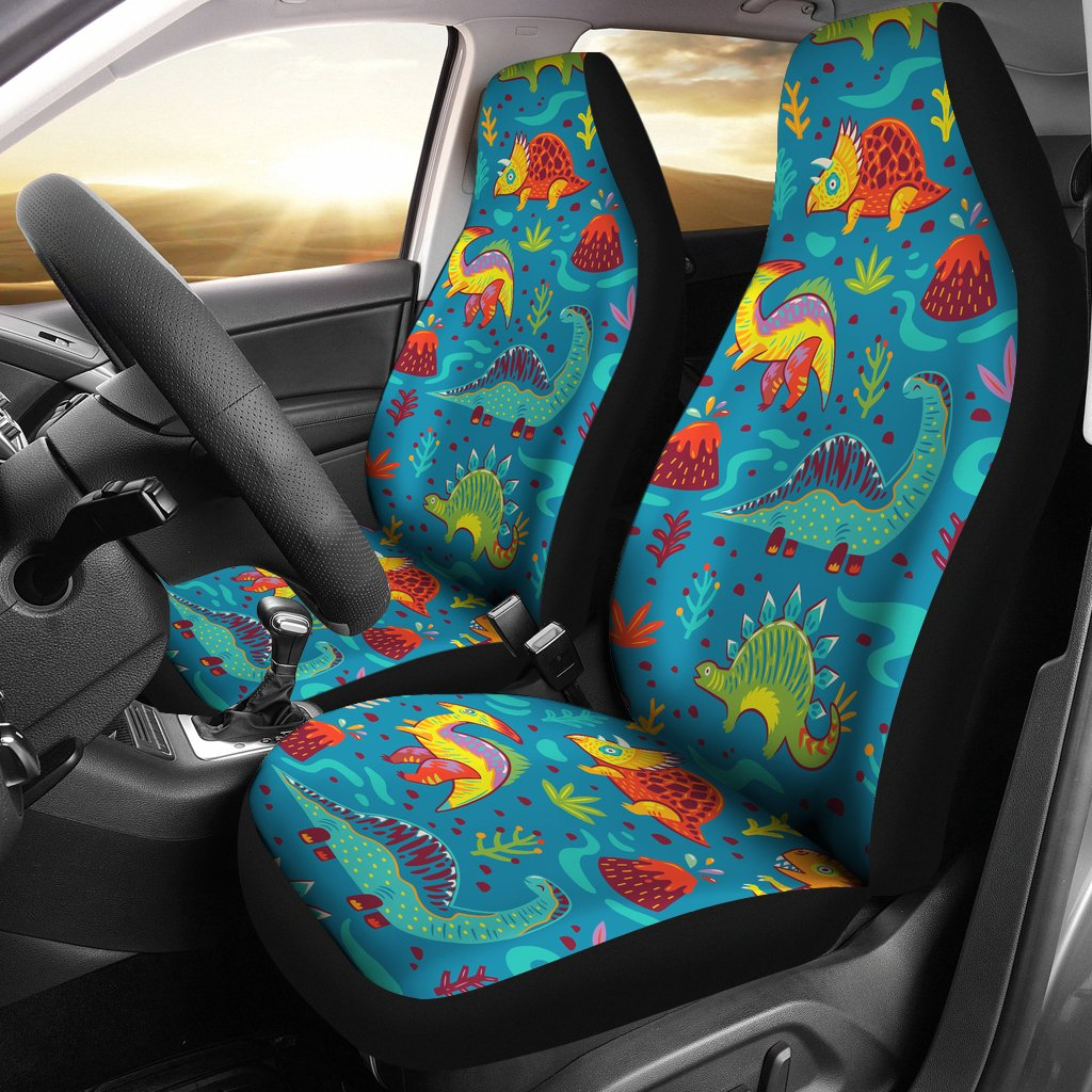 Dinosaur Cartoon Style Universal Fit Car Seat Covers