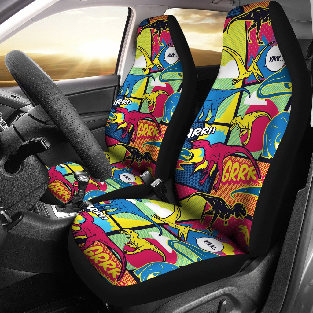 Dinosaur Comic Pop Art Style Universal Fit Car Seat Covers