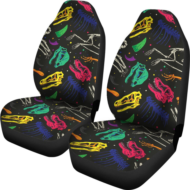 Dinosaur Skull Color Print Pattern Universal Fit Car Seat Covers