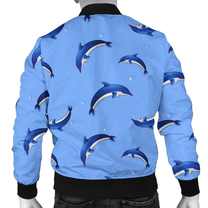 Dolphin Blue Print Men Casual Bomber Jacket