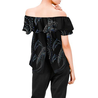 Dolphin Dot Design Off Shoulder Ruffle Blouse