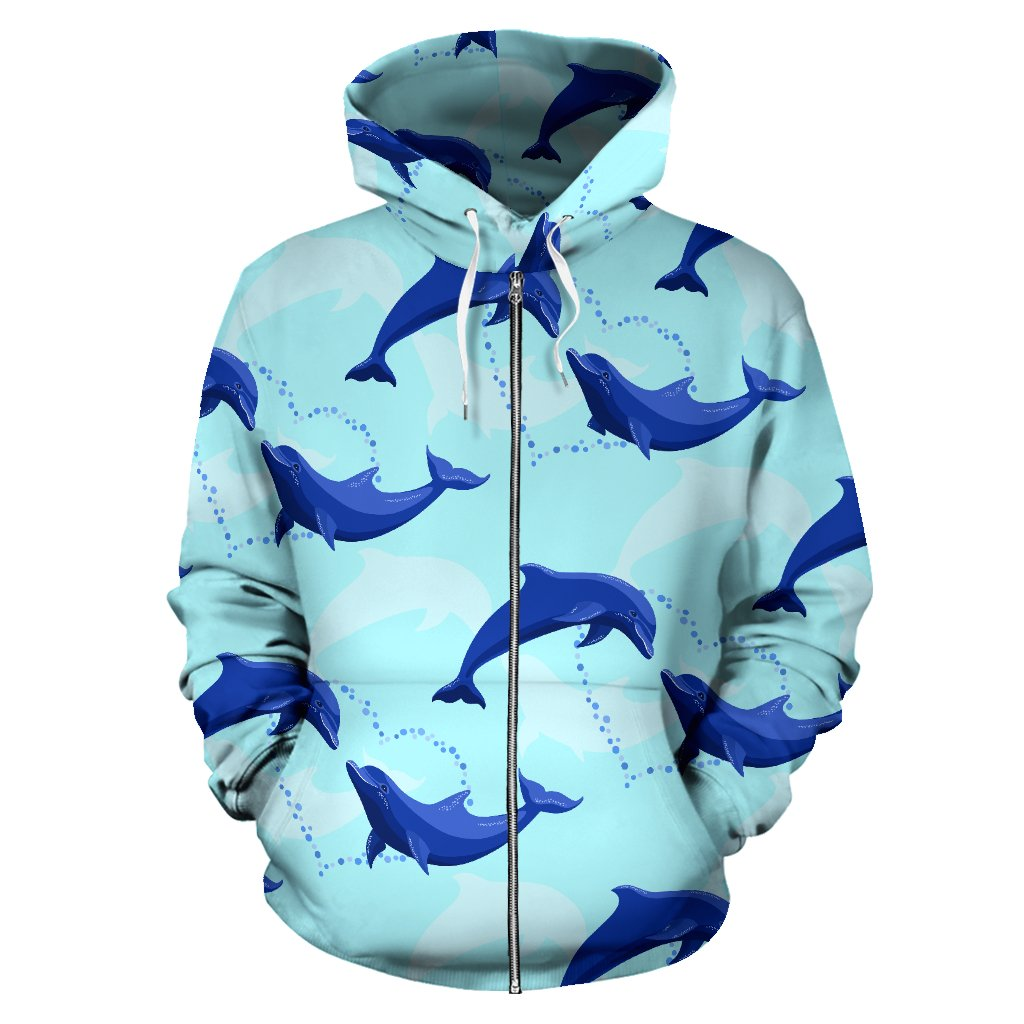 Dolphin Heart Pattern All Over Zip Up Hoodie