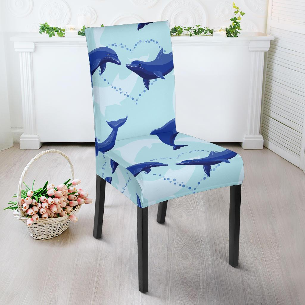 Dolphin Heart Pattern Dining Chair Slipcover-JORJUNE.COM