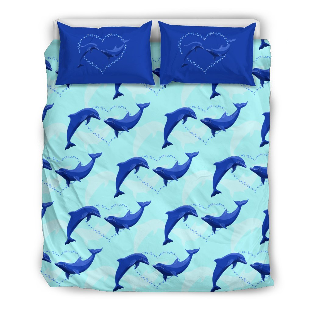 Dolphin Heart Pattern Duvet Cover Bedding Set