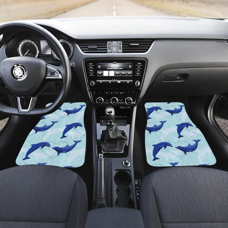 Dolphin Heart Pattern Front and Back Car Floor Mats