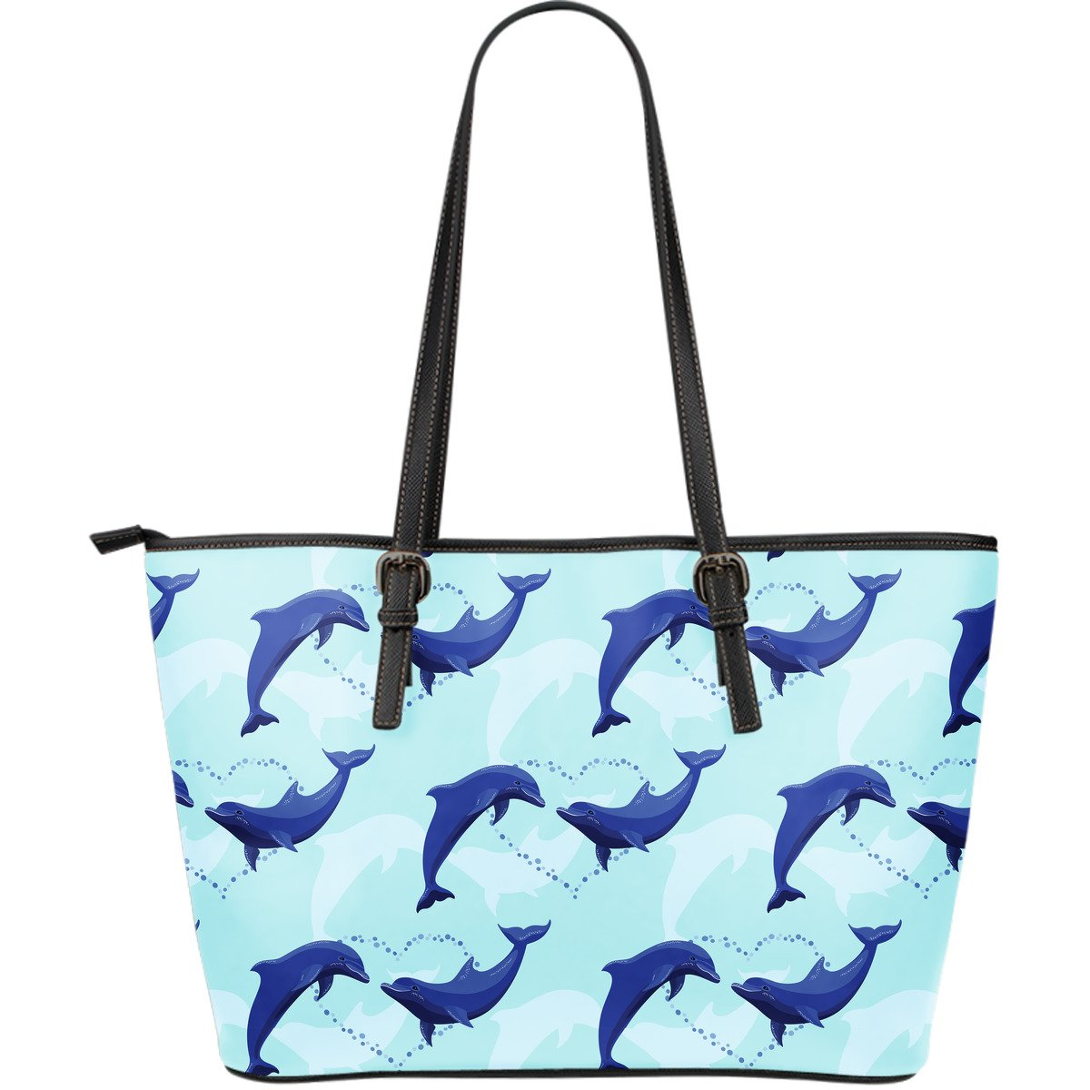 Dolphin Heart Pattern Large Leather Tote Bag