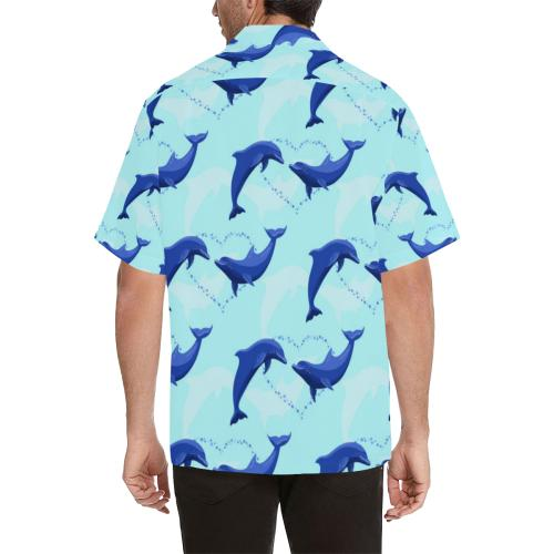 Dolphin Heart Pattern Men Hawaiian Shirt