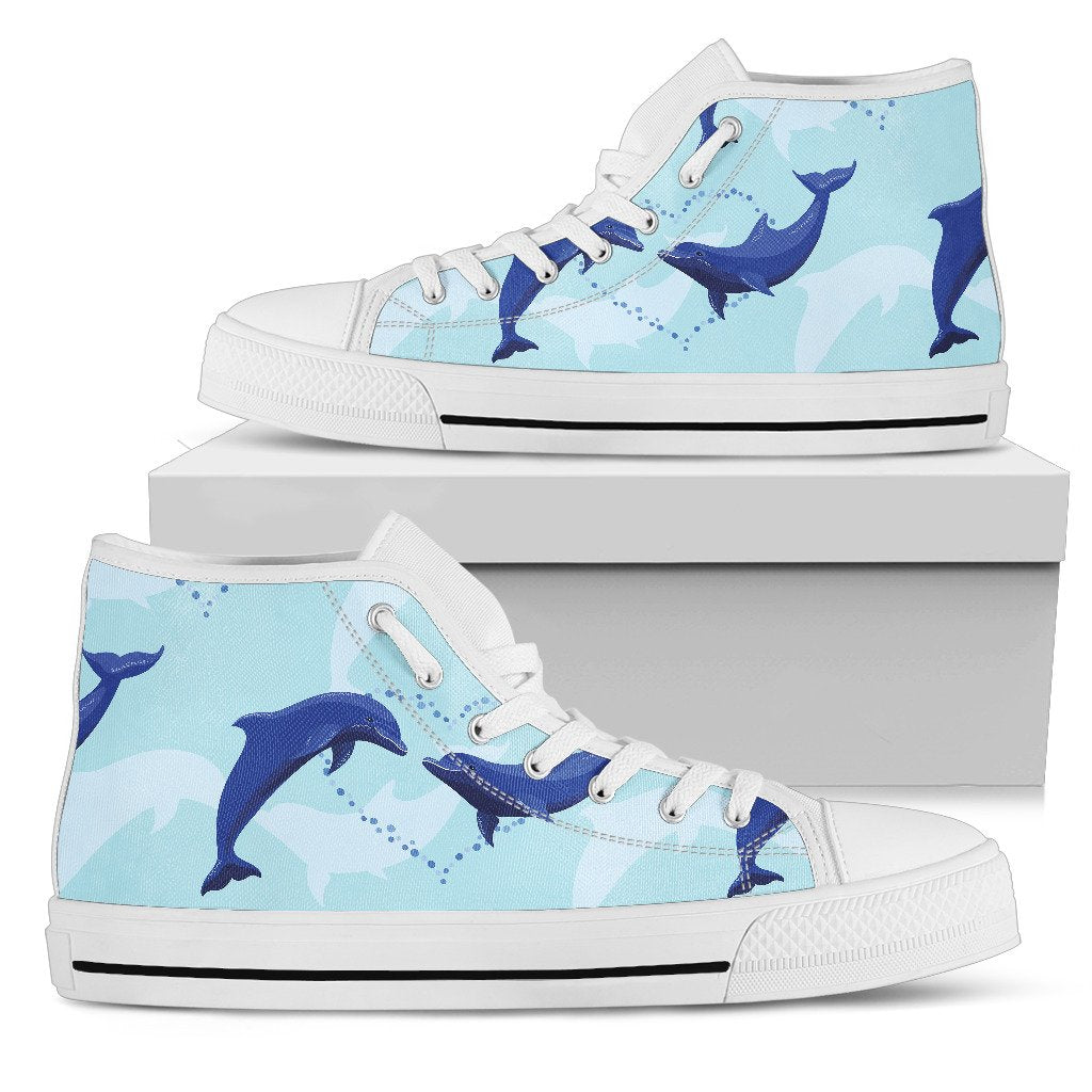 Dolphin Heart Pattern Men High Top Shoes