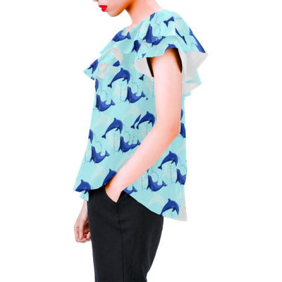Dolphin Heart Pattern Off Shoulder Ruffle Blouse