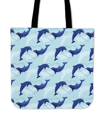 Dolphin Heart Pattern Tote Bags