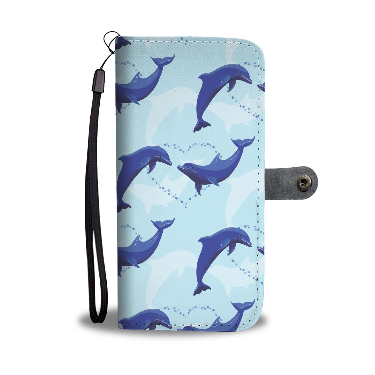 Dolphin Heart Pattern Wallet Phone Case
