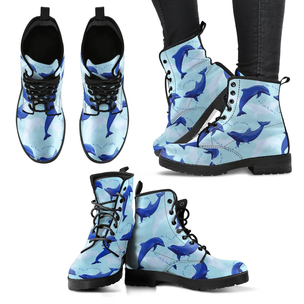 Dolphin Heart Pattern Women Leather Boots