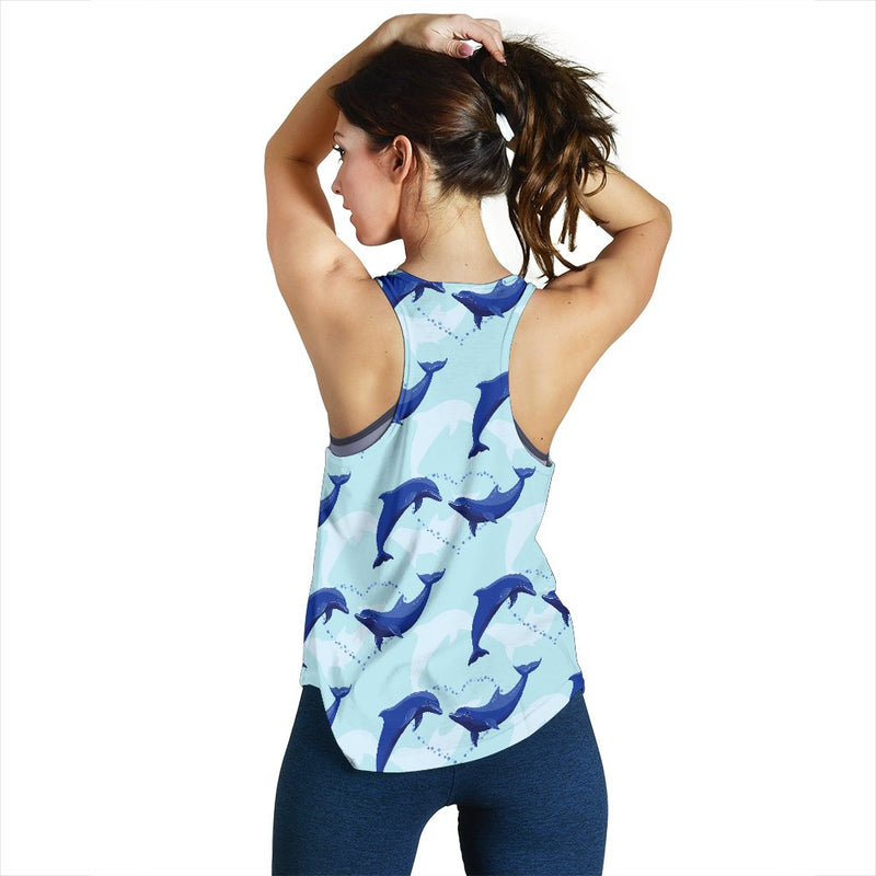 Dolphin Heart Pattern Women Racerback Tank Top