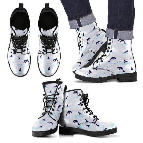 Dolphin Jumping Women & Men Leather Boots