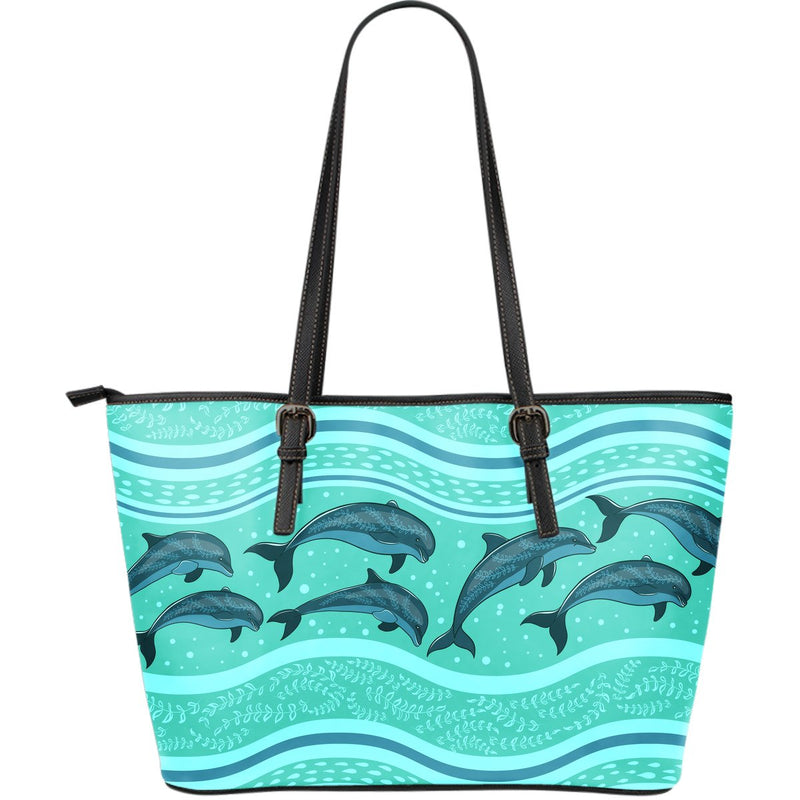 Dolphin Pattern Large Leather Tote Bag