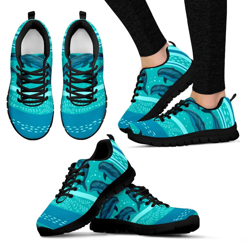 Dolphin Pattern Women Sneakers