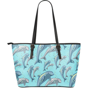 Dolphin Print Pattern Large Leather Tote Bag