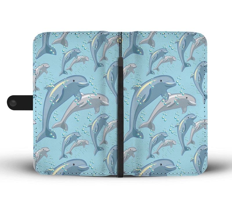 Dolphin Print Pattern Wallet Phone Case