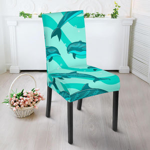 Dolphin Wave Print Dining Chair Slipcover-JORJUNE.COM