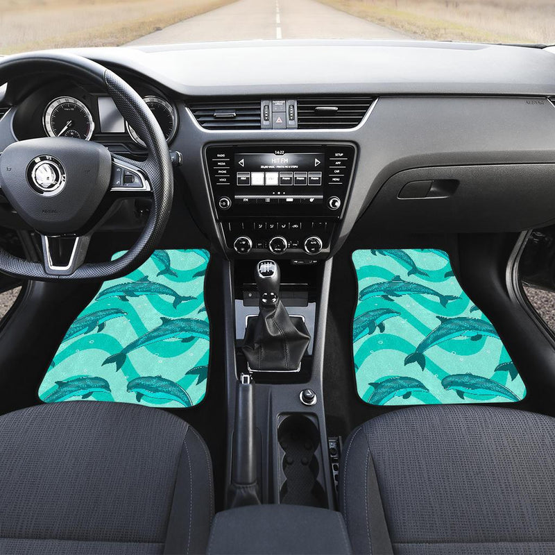 Dolphin Wave Print Front and Back Car Floor Mats