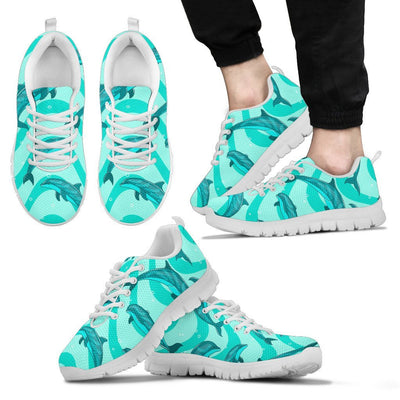 Dolphin Wave Print Men Sneakers