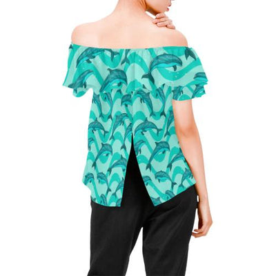 Dolphin Wave Print Off Shoulder Ruffle Blouse