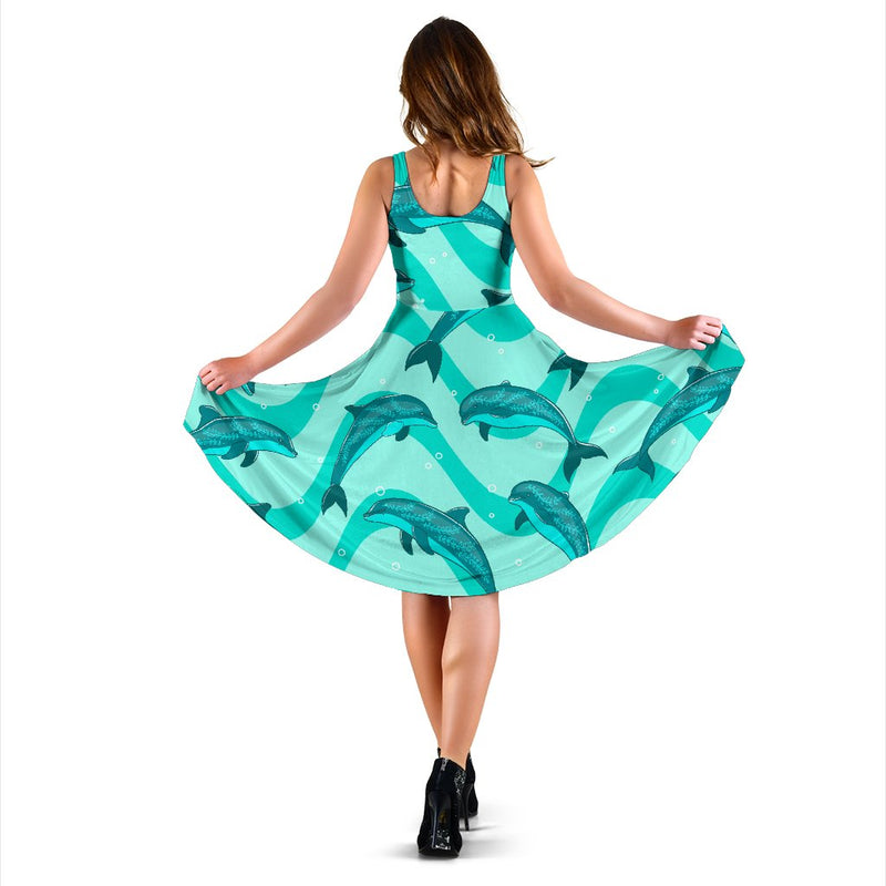 Dolphin Wave Print Sleeveless Mini Dress