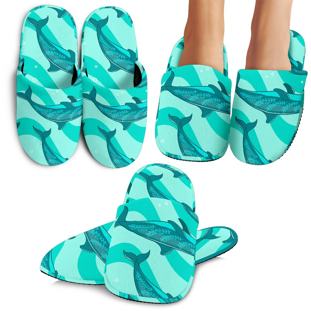Dolphin Wave Print Slippers
