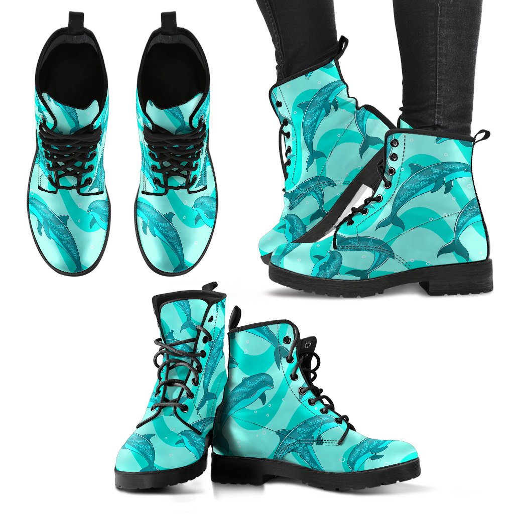 Dolphin Wave Print Women Leather Boots