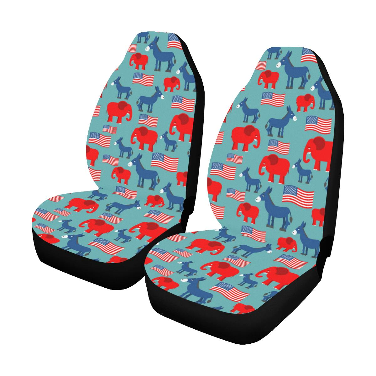 Donkey Red Elephant Pattern Print Design 03 Car Seat Covers (Set of 2)-JORJUNE.COM