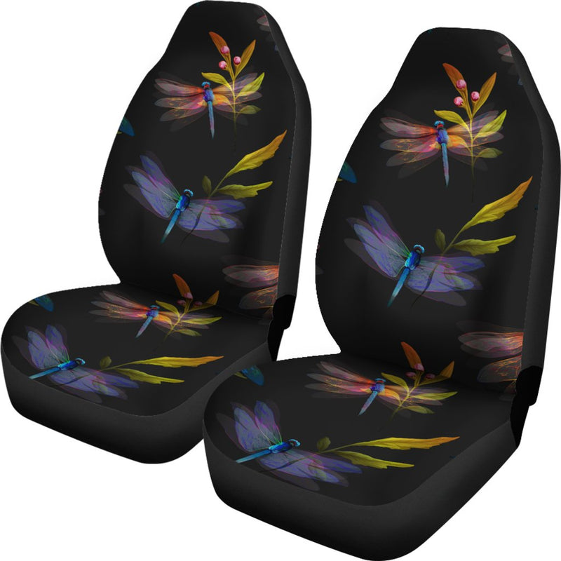 Dragonfly Colorful Realistic Print Universal Fit Car Seat Covers