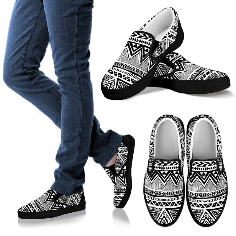 Draw Tribal Aztec Men Slip On Shoes