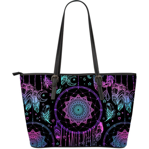 Dream catcher boho mandala Large Leather Tote Bag