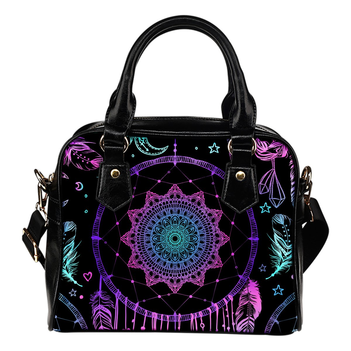 Dream catcher boho mandala Leather Shoulder Handbag
